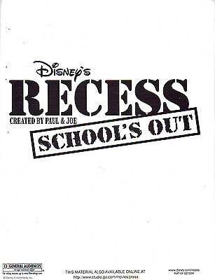 Recess: School's Out Animated Film Press Kit Booklet/2001 Disney Pictures