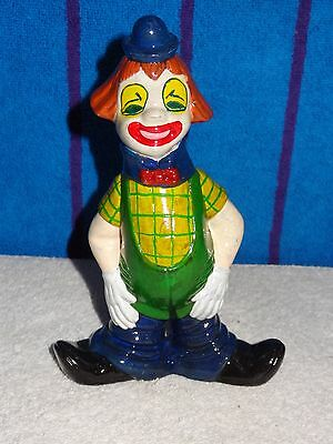 Hand Made Hand Painted Porcelain Clown Figurine- Green Shirt & Goofy Smile- USA