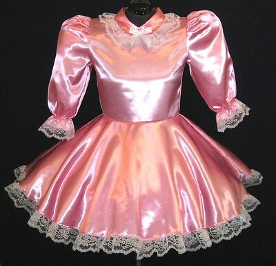 Custom Fit SATIN Adult Baby Sissy Dress LEANNE