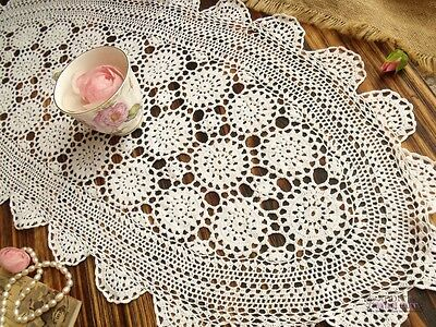 Vtg HAND Crochet FINE Lace Table Runner Scarf Centerpiece Snowflakes White 33""