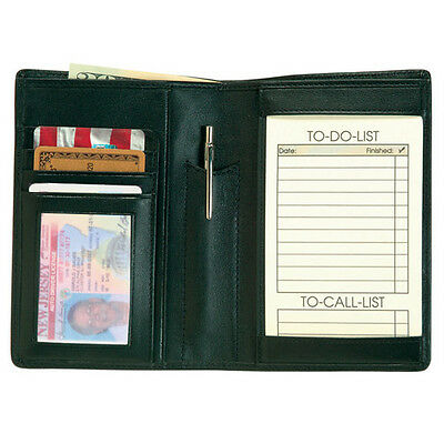 Royce 'Things To Do' Note Jotter & Passport Wallet Top Grain Nappa Leather Black