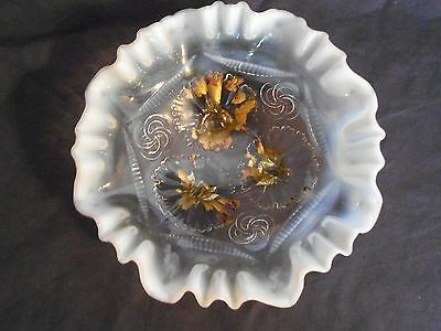 Antique Jefferson Glass 3 in 1 Crimped Edge White Opalescent Footed Bowl