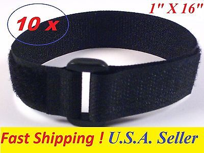 "~Lot of 10~ Reusable Hook & Loop Velcro Cable Tie Straps w/ Buckle BLK 1"" x 16"""