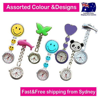 Assorted Nurse Watches Chrome Pendant Pocket Watch for Pouch with Spare Battery