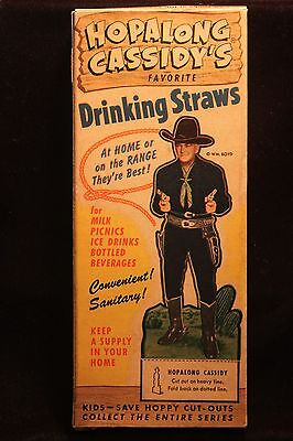 Vintage 1950's Hopalong Cassidy's Box of Drinking Straws w/Cut Out Figure NICE