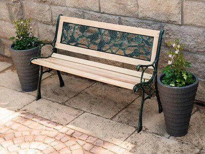 Livivo 3 Seater Garden Bench Wooden & Cast Iron With Pvc Rose Back Park Seat