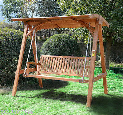 3 Seater Outdoor Patio Swing Chair Garden Furniture with Wood Canopy NEW