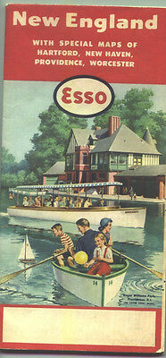 1957 Esso New England Vintage Road Map /Roger Williams Park, Providence on cover