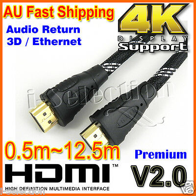 Premium HDMI Cable V2.0 Gold Plated 3D Audio 4K Ultra HD Ethernet 0.5m ~ 12.5m