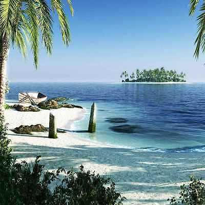 Tropical Beach 10'x10' CP Backdrop Computer printed Scenic Background XLX-365