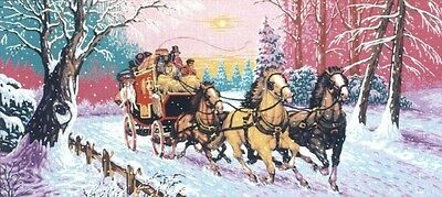 Mail Coach and Horses In The Snow Tapestry Canvas Diamant
