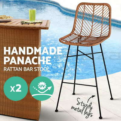 2x Outdoor Bar Stool Furniture Rattan Barstool Dining Chair PE Wicker Brown 3923
