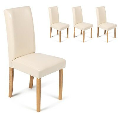 4 Cream Faux Leather With Oak Stained Leg Dining Chairs Free 48 Hour Delivery