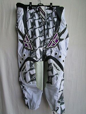 """Fly Racing KINETIC WOMENS LADIES motocross pants sz 11/12 or 38"""" wht/gry NEW"""