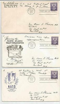 First Day Cover Lot of 5 different NATO US #1008 1952 4/4/52
