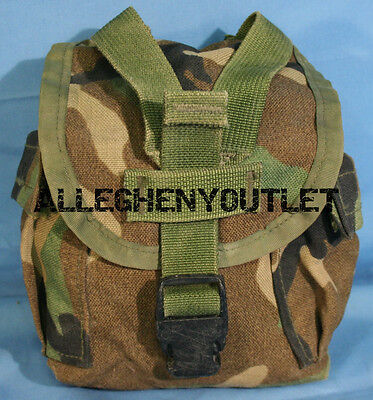 US Military 1QT MOLLE Woodland Camo 1 QUART CANTEEN COVER Carrier Pouch NICE