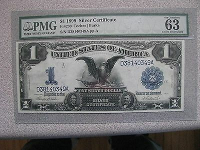 PMG 1899 $1 SILVER CERTIFICATE 4 CONSECUTIVE SERIAL NUMBERS -- UNC.