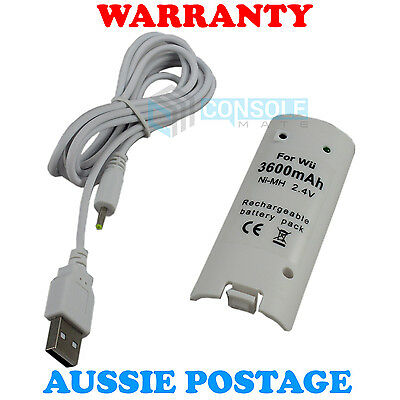 RECHARGEABLE BATTERY PACK (3600mAh) - White - for Wii Remote Controllers