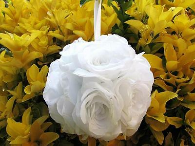 "1pc Wedding Flower Kissing Ball 6"" Poly Silk/White/Artificial Rose FB-Pick Color"