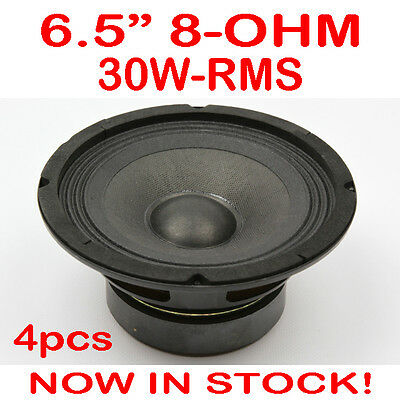 "4x 6.5"" 30WRMS 8 Ohms PA DJ Speaker Subwoofer Woofer Sub Driver 6.5 Inch Quality"