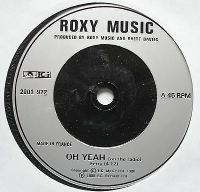 "ROXY MUSIC - Oh Yeah - Excellent Condition 7"" Single Polydor / EG 2001 972"