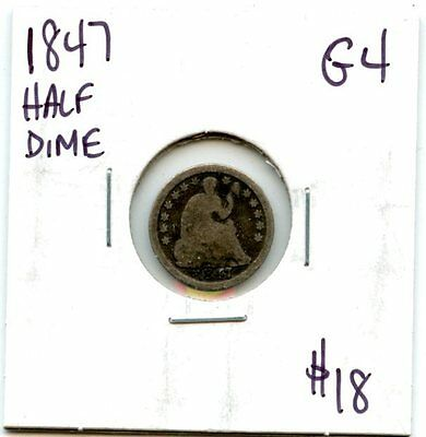 Avc - 1847 Seated Liberty Half Dime Good