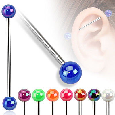 Surgical Steel Industrial Scaffold Bar with Metallic Coated Acrylic Ball
