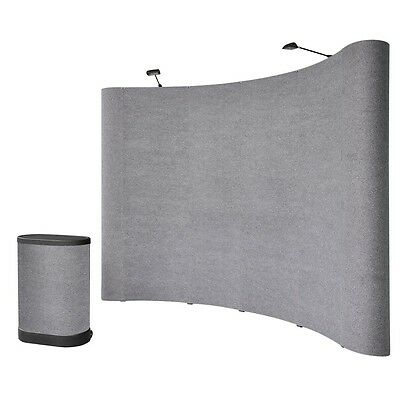10' ft Gray Portable Pop Up Trade Show Kit Display Booth Podium Case Spotlights