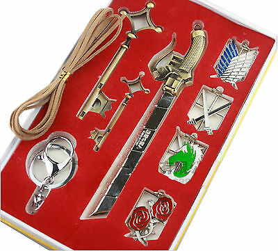 Attack on Titan Emblems, Keychains, Key Necklace and Sword 9 Piece Jewelry Set