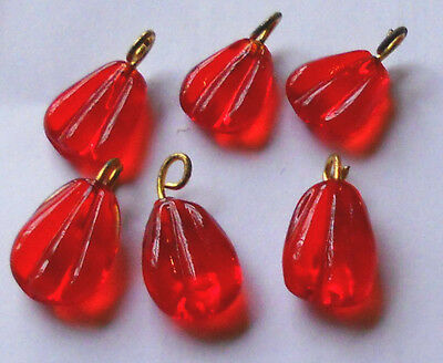 #767 Vintage Beads Glass Drops Dangles Ruby Ribbed Art Deco Nouveau Rose Red