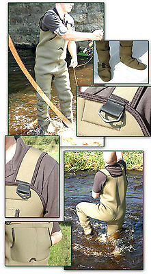 Bison Neoprene Stocking Foot Chest Waders + Felt Or Rubber Sole Wading Boots