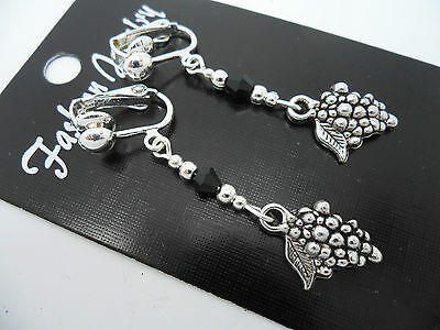 A PAIR TIBETAN SILVER  & BLACK CRYSTAL BEAD  DANGLY  GRAPES CLIP ON EARRINGS.