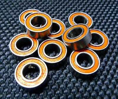 [10PCS] MR84RS (4x8x3mm) Double Metal Rubber Sealed Ball Bearing (Orange)