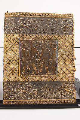 """Antique Hand Tooled Italy Worn Leather Book Cover 15 1/2"""" X 12"""" Grecian Children"""