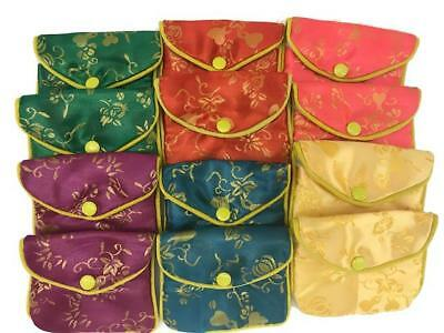 Jewelry Zipper Silk Pouches - Assorted Silk - 12 pc pkg