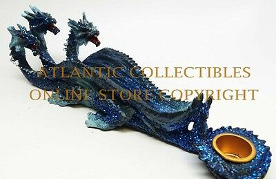 Blue Fearsome Hydra Dragon Incense Burner& Candle Holder Figurine Statue Resin