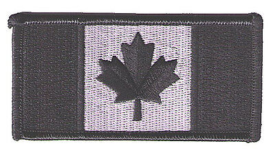 """Canada flag 3.5"""" x 1.75""""  subdued black/silver police SWAT biker patch"""