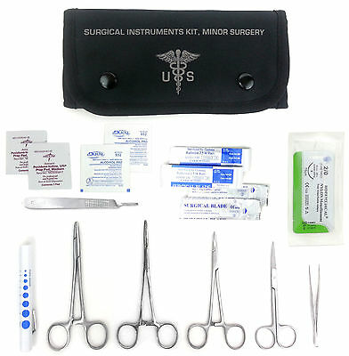 Complete Army Surgical Kit - Sutures, Scalpel, Hemostats  -BLK- Military - #FA12