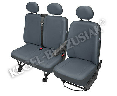 Tailored Van 2+1 ECO Leather Seat Cover Practical Grey for Opel Vivaro