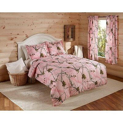 Realtree Pink Camouflage Girls Hunting Cabin Queen Comforter & Shams 3PC Bedding