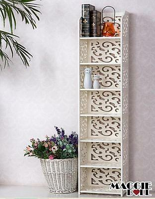 New White Hollow Carved Kitchen Bathroom Storage shoes Rack book shelves 12030