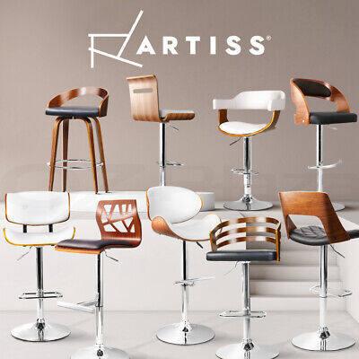 【20%OFF】Artiss Wooden Bar Stools Kitchen Bar stool Chairs Swivel Leather BlackX2
