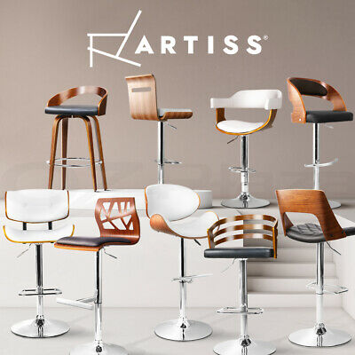 Artiss 2x Wooden Bar Stools Kitchen Chairs Swivel Bar stool Leather Black/White