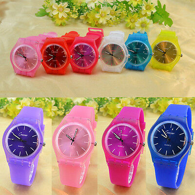 Korean hot Women Men jelly wrist watch Silicone Quartz sport watch candy color