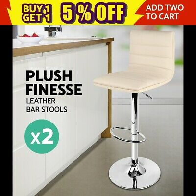 2x PU Leather Bar stool Barstool Office Kitchen Chair Gas Lift Beige 710N