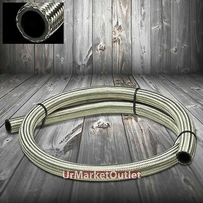 Feet/Foot 16AN AN-16 Stainless Steel Braided 15k-PSI Oil/Fuel Hose/Line ID 8/8""