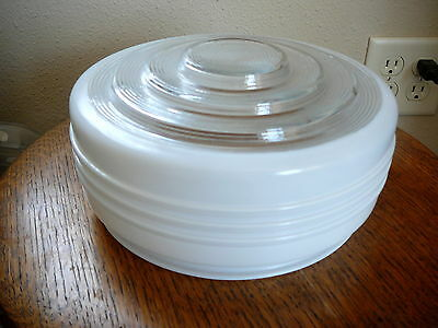 RETRO VINTAGE 1950s ART DECO GLASS CEILING FIXTURE SHADE WHITE AND CLEAR BANDED