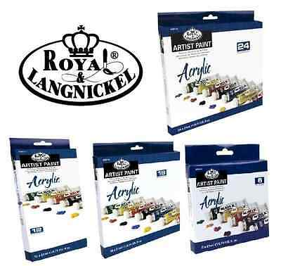 ROYAL LANGNICKEL SETS OF LARGE 21ml TUBES of ACRYLIC ARTIST PAINTS & BRUSH sets