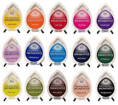 Tsukineko Memento Dew Drop Rubber Stamp Ink Pads 36 Dye Colours To Choose From