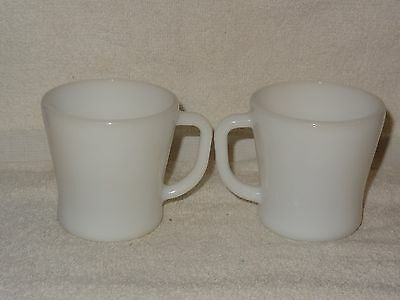 Vintage Pair White Heat Proof Federal Glass Coffee Mug- Made in USA